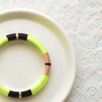 Neon. Green. Black. Thread Bangle Bracelet with Stripes - no. 513