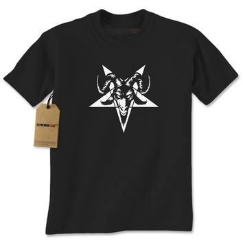 Satanic Goat Head Pentagram  Mens T-shirt