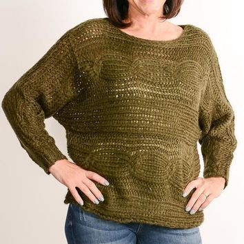 Olive Chunky Cable Knit Sweater
