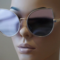 Cat Eye Oversized Women Sunglasses Large Metal Frame Pink Gold Mirrored Lens