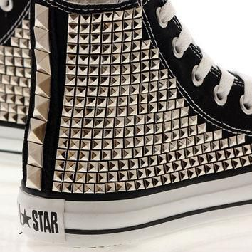 Studded Converse Silver Pyramid studs with converse Black high top / Oneside Studded