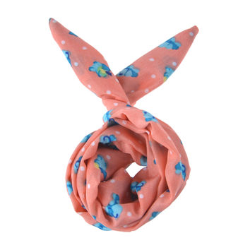 Cute Pink Blue Flower Soft Vintage 60's 50's Hipster Punk Bun Wired Headband Twist Hair band Bow Womens Girl Accessory (#HBS-702-FLPNK)