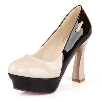 Square Heels Round Toe Patent Leather Pumps
