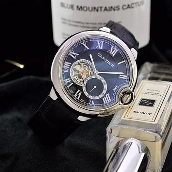 PEAP C042 Cartier Business Leisure Automatic Machinery Leather Watchand Watches Black Sliver Blue