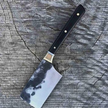 """Knife & Board: 3.5"""" Cheeser with Rosewood, G10 and Brass - Live Edge Walnut Cutting Board"""