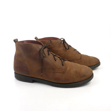 Granny Boots Vintage 1980s Oiled Brown Leather Lace Up  Women's