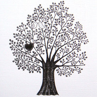Tree of Love Bird Heart Print of Original Ink Drawing illustration Woodland Wedding 4x6