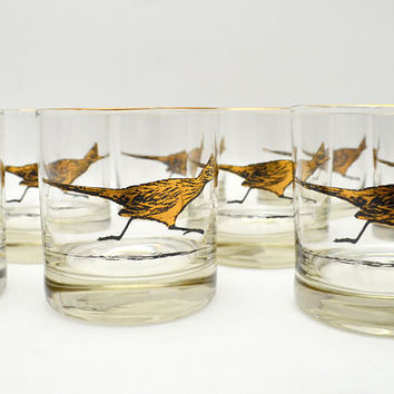 Set of 8 Vintage Roadrunner Cocktail Glasses, Lowball / Rocks Glasses, Mid Century Glassware, Black and Gold, 1950s-1960s
