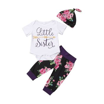 USA Sister Match Big Little Sister Girl T-shirt Romper Top+ Pant 596247f4a3