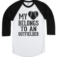 My Heart Belongs To An Outfielder (Baseball Tee)-T-Shirt