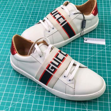 Gucci White Stripe Leather Sneaker 523469 0fiv0 9091 - Best Online Sale