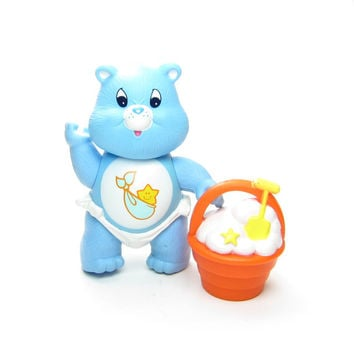 Baby Tugs Bear Vintage Care Bears Poseable Figure Toy, Blue with Diaper, Bucket or Pail of Clouds