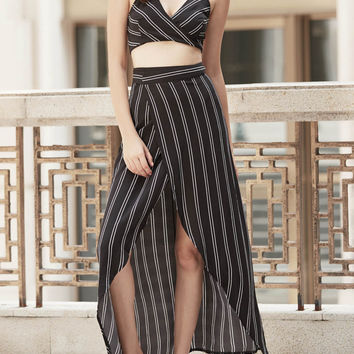 Spaghetti Strap Striped Cross-Back Wrap Crop Top with Skirt