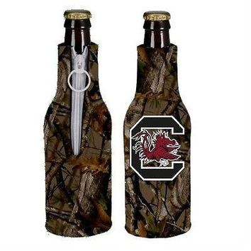 South Carolina Gamecocks Camo Bottle Holder Zipper Koozie