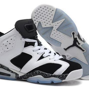 Hot Nike Air Jordan 6 Retro Women Shoes White Black Speckle a5093307a