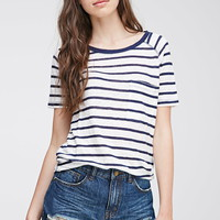 Raglan Stitched Striped Top