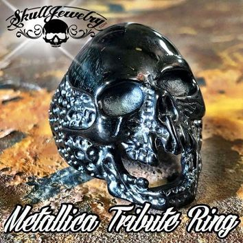 Black 'The Plague' Skull Ring (736Black)