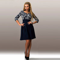 Business Casual 3/4 Sleeve Print  A-line Dress