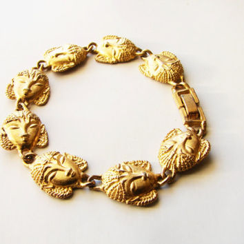Vintage Egyptian / India (Indian) Bracelet - OOAK - Gold Tone Metal - Textured and Beautiful Jewelry - FREE SHIPPING