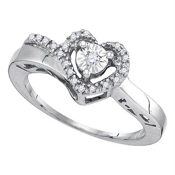 Sterling Silver Women's Round Diamond Heart Love Promise Ring 1/10 Cttw - FREE Shipping (US/CAN)