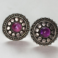 Amethyst and Sterling Post Earrings Raised Dot Detail Smaller Vintage