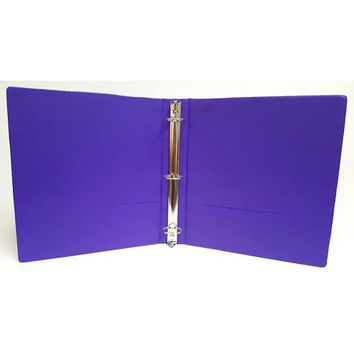 "1"" Basic 3-Ring Binder w/ Two Inside Pockets - Purple"