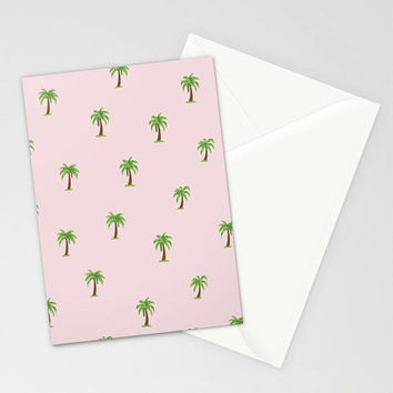 Pink Palm Tree Print Preppy Stationary, Blush Pink Tropical Stationary, Palm Tree Note Cards, Pink Travel Stationary Set, Thank You Cards