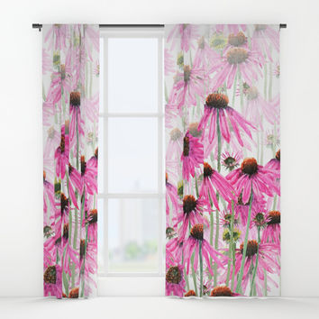 pink coneflower field Window Curtains by Color And Color
