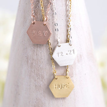 Hand Stamped Hexagon Necklace Personalized Hexagon Necklace Birth Date Name Initial Roman Numeral Gift for Her Mom Sterling Silver LVMKH9