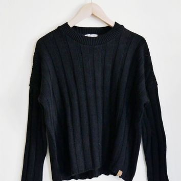Ada Black Ribbed Sweater