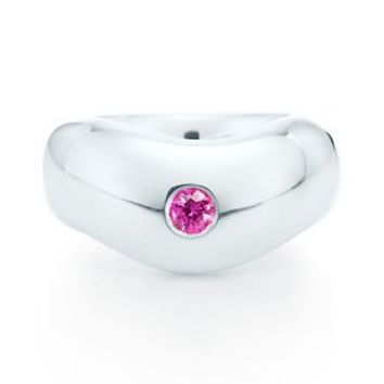 Tiffany & Co. -  Elsa Peretti® band ring in sterling silver with a pink sapphire.