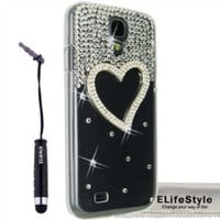 Elifestyle New for Samsung Galaxy S4 S IV i9500 3D Handmade Clear Bling Love Heart Sparkle Glitter Rhinestone Case Cover Hard Transparent + Elifestyle Accessories stylus pen + Clean Cloth:Amazon:Cell Phones & Accessories