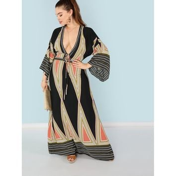Plus Plunging Neck Bell Sleeve Geo Maxi Dress