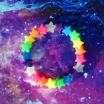Rainbow Shooting Star Trail Stretch Kandy Bracelet Japanese Street Fashion Decora Glowing Fun