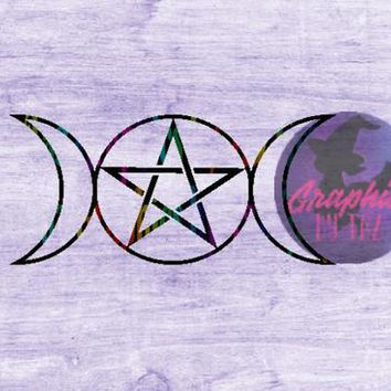 Triple Moon Goddess Pentacle SVG cut file for Cricut and Silhouette cutting machines