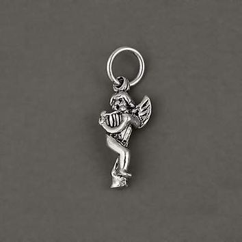 Sterling Silver 925 Angel Cherub Playing Harp Charm Pendant