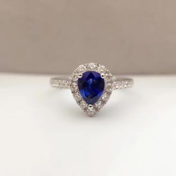0.654ct+0.402ct 18K Gold Natural Sapphire Women Ring with Diamond Setting 2016 New Fine Jewelry Wedding Band Engagement