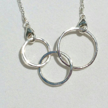 Asymmetrical Linked Circles Necklace, Silver Connected Links Necklace, Double Clasp, Mother Links Necklace, 18 inch Maggie McMane Designs