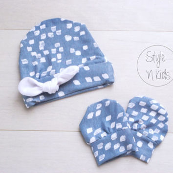 IVORY Newborn outfit newborn boy baby hat with Light Blue Tied KNOT baby boy hat boy baby hat newborn baby boy hospital hat baby boy hat