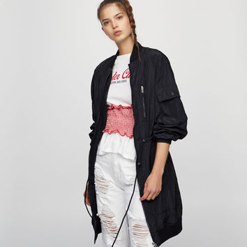 Long bomber jacket - Sale favourites - Clothing - Woman - PULL&BEAR United Kingdom