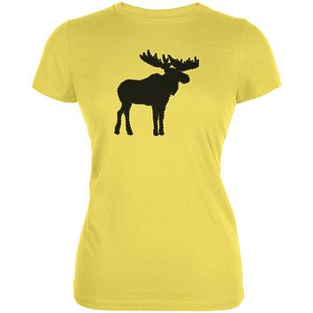 Moose Faux Stitched Juniors Soft T Shirt