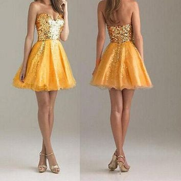 New Women Yellow Patchwork Bandeau Sequin Grenadine Fluffy Puffy Tulle Party Birthday Mini Dress