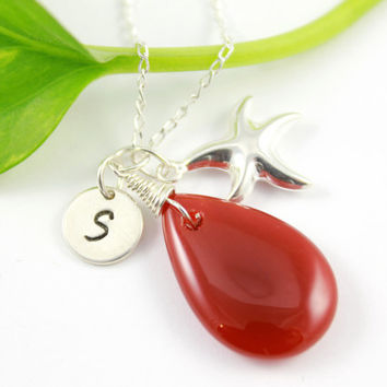 Starfish Charm Necklace Sterling Silver - Carnelian Teardrop - Personalized Jewelry