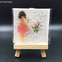 VYUTXA  Flower Girl Transparent Clear Silicone Stamp/Seal for DIY scrapbooking/photo album Decorative clear stamp sheets