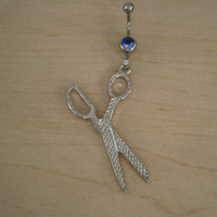 Belly Button Ring - Body Jewelry - Silver Scissor with a Dark Blue Gem Stone Belly Button Ring