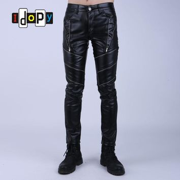 Fashion Night Club DJ Swag Skinny Mens Faux Leather PU Tight Black Joggers Biker Pants For Men Boys With Zippers