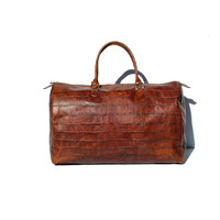Italian Brown Moc-Croc Leather Hers Duffel Bag