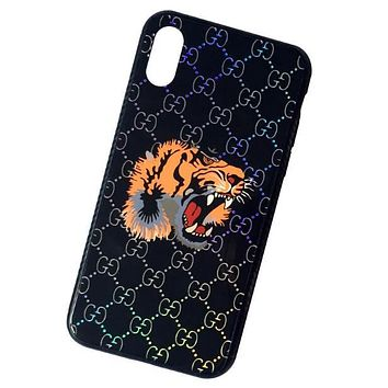 GUCCI Popular Personality Letter Tiger Head Patter For Iphone 7plus X iPhone 6s/8plus Glass Iphone Soft Shell Case Black I12066-1