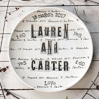 Personalized Cursive & Scrapbooking Wedding Platter