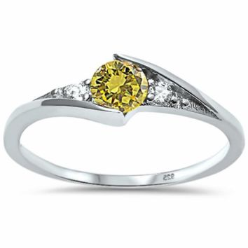 .925 Sterling Silver Yellow Topaz Ring Ladies and Kids Size 3-10 Birthstone Solitaire Midi Thumb